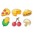 food icons set pizza cheese pumpkin pie corn vector image