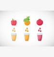 fruit fresh juice flat icon set vector image vector image