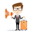 funny cartoon business man with a megaphone vector image vector image