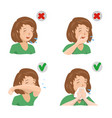 girl sneezing in hand elbow and napkin vector image