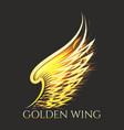 golden wing emblem on black background vector image vector image