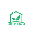green home with leaf design vector image vector image