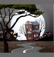 haunted house at the end of the road vector image vector image