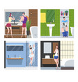 hygiene procedures in bathroom set people vector image vector image