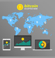 infographic bitcoin on the background of the world vector image