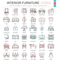 interior Furniture color line outline icons vector image vector image