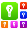 light bulb with question mark inside set color vector image vector image