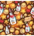 Milk cookies for Santa Claus seamless pattern vector image vector image