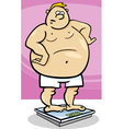 overweight man on weight vector image vector image