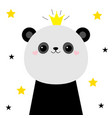 panda bear face head icon cute kawaii animal vector image