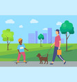 people spending time in city park boy man vector image vector image