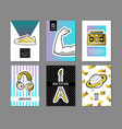 pop art retro style posters set trendy banners vector image vector image
