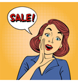 Pop art Style Sale banner Vintage Girl Shouts Sale vector image vector image