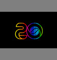 rainbow color colored colorful number 20 logo vector image vector image