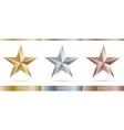 realistic metallic 3 stars vector image vector image