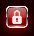 red lock button with chrome frame push 3d button vector image