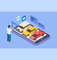 rent car online isometric buy car with online vector image vector image