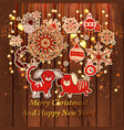 retro christmas decorations background vector image vector image