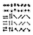 Set of silhouettes black white and grey arrows vector image vector image
