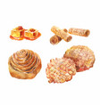 set of watercolor bun with poppy seeds caramel vector image vector image