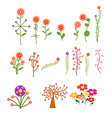 set with vintage flowers vector image vector image