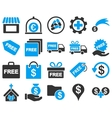 Shipment service and gift icon set vector image