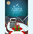 snowy magical christmas evening landscape vector image vector image