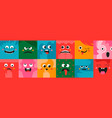 square abstract funny cute comic cartoon faces vector image