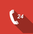 telephone 24 hours support icon with long shadow vector image vector image
