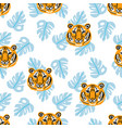 tigers and tropical leaves jungle pattern vector image