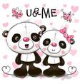 Two cute cartoon pandas vector image