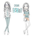 two cute cartoon sketched fashion little girls vector image