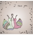 Two snails in love vector image vector image