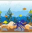 underwater seamless sea scape border with octopus vector image
