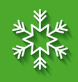 white snowflake decoration green background vector image