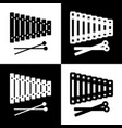 xylophone sign black and white icons and vector image vector image