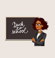 african female teacher standing in front a vector image vector image