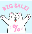 banner for zoo market with cute cartoon cat vector image