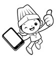black and white chef mascot is holding a vector image