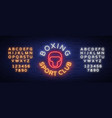 boxing sports club logo sign in neon style vector image vector image
