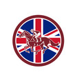british jockey horse racing union jack flag vector image