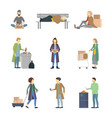 cartoon characters homeless people different types vector image vector image