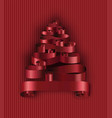 christmas tree made ribbons decoration stripes vector image