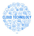 cloud computing technology concept in circle vector image