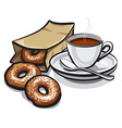 coffee and donuts vector image vector image