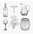 creative sketch wine elements vector image