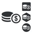 Dollar rouleau icon set monochrome vector image