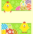 easter background with eggs and funny chickens vector image vector image