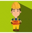 first safety worker icon vector image vector image