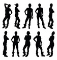 girl figure silhouette in various poses in black vector image